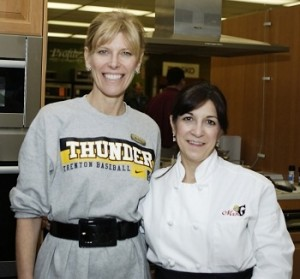 Debbie poses with Executive Chef Mary Beth Madill at our Trenton Thunder Pickup Party on Feb. 4