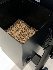 wood pellets in grill