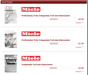 Miele Dishwashers with pricing